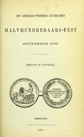 view Det Kongelige Frederiks Universitets halvhundredaars-fest, September 1861 : beretning og actstykker.
