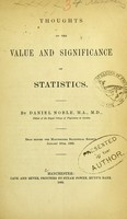 view Thoughts on the value and significance of statistics