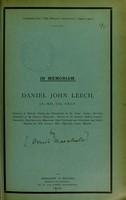 view In memoriam, Daniel John Leech, J.P., M.D., D.Sc., F.R.C.P.