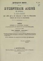 view Quelques mots sur la dysenterie aiguë en général, et particulièrement sur celle qui a été observée à bord de l'Astrolabe pendant son voyage de découvertes : thèse présentée et publiquement soutenue à la Faculté de médecine de Montpellier, le 15 décembre 1837 / par Lesson (Adolphe).