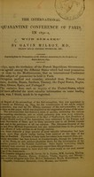 view The International Quarantine Conference of Paris in 1851-2 : with remarks / by Gavin Milroy.