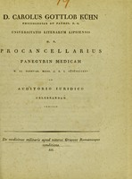 view De medicinae militaris apud veteres Graecos Romanosque conditione. III / D. Carolus Gottlob Kühn.