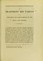 view Du traitement des varices par les injections de perchlorure de fer dans les veines : thèse pour le doctorat en médecine, présentée et soutenue le 1er mars 1856