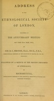 view Address to the Ethnological Society of London, delivered at the anniversary meeting on the 27th May, 1853
