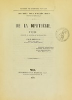 view De la diphthérie : thèse présentée et soutenue le 24 février 1860 / par E. Hervieux.