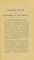 view General rules for the government of St. Thomas's Hospital, London.