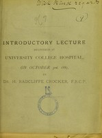view Introductory lecture delivered at University College Hospital, on October 3rd, 1887