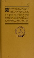 view Observations on hospital organization : a paper / by George H.M. Rowe.