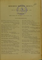 view Research Defence Society : list of members up to June 4th, 1908.