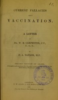 view Current fallacies about vaccination : a letter to Dr. W.B. Carpenter, C.B., &c., &c., &c.