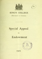 view Special appeal for endowment / King's College (University of London).