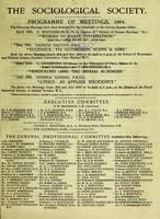 view Programme of meetings, 1904