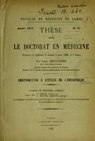 view Contribution à l'étude de l'hémophilie : thèse pour le doctorat en médecine présentée et soutenue le samedi 5 août 1882, à 1 heure / par Louis Grenaudier.