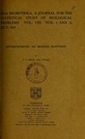 view Anthropometry of modern Egyptians / by J.I. Craig.