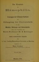 view Zur Kenntnis der Hämophilie : Inaugural-Dissertation zur Erlangung der Doctorwürde in der Medizin, Chirurgie und Geburtshülfe ... / vorgelegt von Max Fischer.