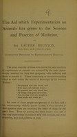 view The aid which experimentation on animals has given to the science and practice of medicine
