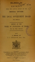 view Report on the work of inspectors of foods for the year 1909-10 / being a report by G.S. Buchanan.