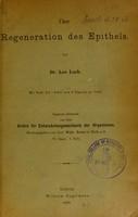 view Über Regeneration des Epithels / von Leo Loeb.