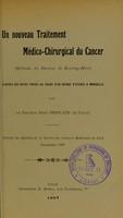 view Un nouveau traitement médico-chirurgical du cancer (méthode du docteur de Keating-Hart) : d'après des notes prises au cours d'un voyage d'études à Marseille
