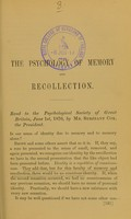 view The psychology of memory and recollection : read to the Psychological Society of Great Britain, June 1st, 1876
