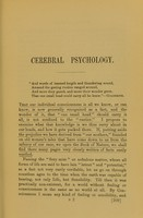 view Cerebral psychology : read at a meeting of the Psychological Society of Great Britain / by Charles Bray.