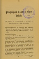 view The claims of psychology to a place in the circle of the sciences / sessional address of the President, Mr. Serjeant Cox.