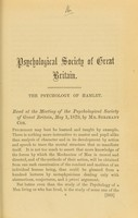 view The psychology of Hamlet : read at the meeting of the Psychological Society of Great Britain, May 1, 1879
