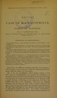 view Report on a case of haematophilia, or a family of bleeders / by A. Vanderveer.