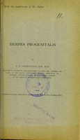 view Herpes progenitalis / by F.B. Greenough.
