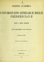 view Solennia academica Universitatis Literariae Regiae Fredericianae ante L annos conditae die II Septembris anni MDCCCLXI celebranda indicit Senatus Academicus.
