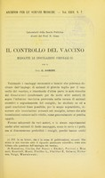 view Il controllo del vaccino mediante le inoculazioni corneali / C. Gorini.