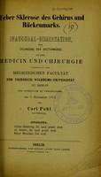 view Ueber Sklerose des Gehirns und Rückenmarks / Carl Pohl.