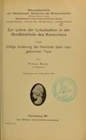 view Zur Lehre der Lokalisation in der Grosshirnrinde des Kaninchens / von Franz Nissl.