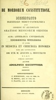 view De morborum constitutione : dissertatio inauguralis medico-pathologica ... / auctor Adolphus Gruettner.