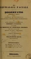 view De neuralgia faciali : dissertatio inauguralis medica ... / auctor Frank Kock.