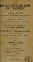 view De largiorum calomelanos dosium usu atque effectu : dissertatio inauguralis physiologico-therapeutica ... / auctor Albertus Lesser.