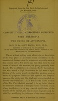 view Constitutional conditions combined with ametropia, the cause of asthenopia / by D.B. St. John Roosa.