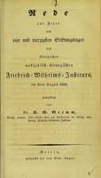 view Rede zur Feier des vier und vierzigssten Stiftungstages des Königlichen medizinisch-chirurgischen Friedrich-Wilhelms-Instituts, am 2ten August 1838 / gehalten von H.G. Grimm.