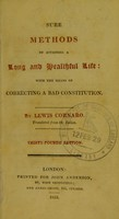 view Sure methods of attaining a long and healthful life : with the means of correcting a bad constitution