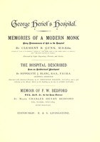 view George Heriot's Hospital : memories of a modern monk : being reminiscences of life in the Hospital