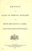 view Report on the causes of reduced mortality in the French army serving in Algeria.