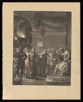 view Christ brought by Roman soldiers before the high priest Annas. Engraving by C. Bouzonnet Stella after J. Stella.