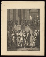 view Pontius Pilate comes out to the people, asks what is the accusation against Christ, and tells the Jews to judge him by their own laws. Engraving after J. Stella.