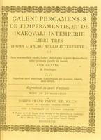 view Galeni Pergamensis de temperamentis et de inaequali intemperie libri tres
