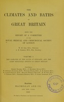 view The climates and baths of Great Britain / / being the report of a committee of the Royal Medical and Chirurgical Society of London.