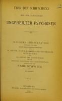 view Über den Schwachsinn als Folgezustand ungeheilter Psychosen / von Paul Stawitz.