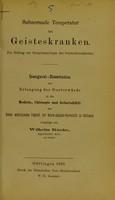 view Subnormale Temperatur bei Geisteskranken : ein Beitrag zur Symptomatologie der Geisteskrankheiten / vorgelegt von Wilhelm Knoke.