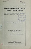 view Vaccination and its relation to animal experimentation