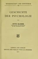 view Geschichte der Psychologie / von Otto Klemm.