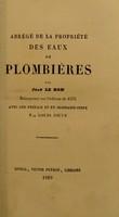 view Abrégé de la propriété des eaux de Plombières : Réimprimé sur l'édition de 1576